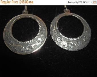 Antique Sterling 925 Silver Dangle Hoop Earrings 15.3.g