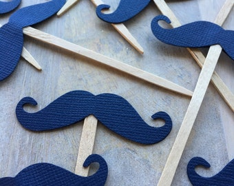 Navy Blue Mustache Cupcake Toppers // Mustache Cake Picks // Mustache Party Supplies