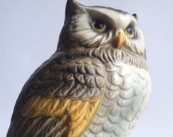 "Owl Statue, Made in Japan, Hand Painted, 7 1/4"", Ceramic Figurine, Library, Back to School, Bird Lover, Halloween, Sculpture, VintAGE"