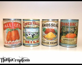 Upcycled Tin Can Vases With Replicated Vintage Labels