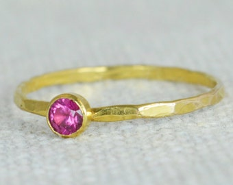 Dainty Gold Ruby Ring, Hammered Gold, Stackable Rings, Mother's Ring, July Birthstone Ring, Skinny Ring, Rustic Ruby Ring, 14K Gold Fill
