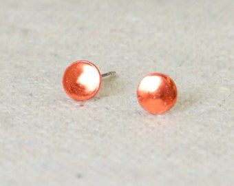 Orange Silver Circle Earrings, Sterling Silver Earrings, Silver Stud Earrings, Simple Silver Earrings, Orange Earring, Nano Ceramic Earring