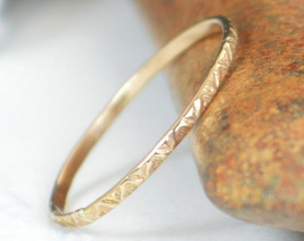 14k gold bohemian ring rustic wedding ring thin gold ring dainty 14k gold - Bohemian Wedding Rings