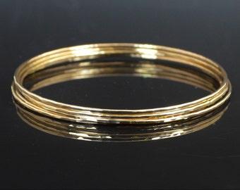 Gold Filled Bangle, Thin Bangle, Textured Bangle, Gold Bangle, Thin Gold Bangle, Gold Bracelet, Hammered Gold Bangle, Alari, Textured Bangle