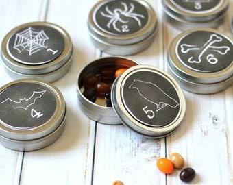 Reusable Magnetic Halloween Advent Tins / Bats and Spiders / 20 Fall Count Down Calendar / Halloween Decorations / Advent Calendar