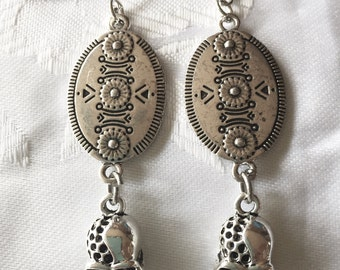 Skull and shield earrings