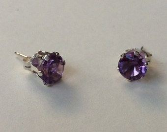 Amethyst gemstone sterling silver ear-rings