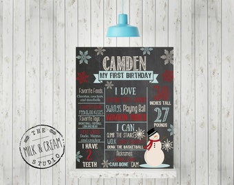 Snowman Winter First Birthday Chalkboard- Snowflake Birthday Poster- First Birthday Photo Prop, Printable File wonderland Birthday