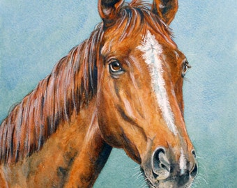 CUSTOM HORSE PAINTING, Horse Watercolour, Pet Portrait, Horse Portrait, Birthday Present, Chestnut Horse, Valaentines Gift, Horse Painting