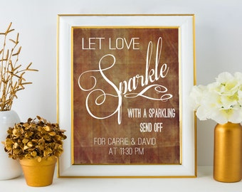 Rustic Wedding Sparkler Sign Printable // Sparkling Exit // Rustic Fall Wedding Send Off // 8x10 Sparkler Sign Template
