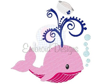 Whale Embroidery Design 050516 Filled stitch 5X7 8X8 6X10 Instant download