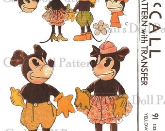 "Vintage 1933 McCall's 18"" Mickey & Minnie Mouse Pattern"