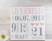 Wood Hand Painted Birth Announcement Sign- Baby Girl Birth Art- Baby Subway Art- Nursery Subway Art- Country Nursery Decor