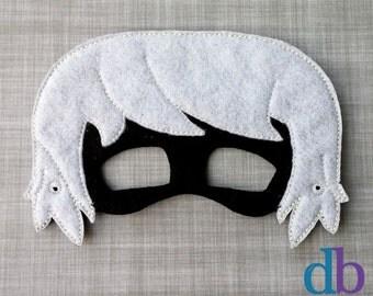 Girl Felt Embroidered Mask - Luna Mask - Kid & Adult - Pretend Play - Halloween Costume