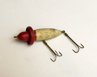 30% Off SALE Antique Large Double Hook Heddon Wooden Fishing Lure Featuring Original Red & White Hand Painted Design