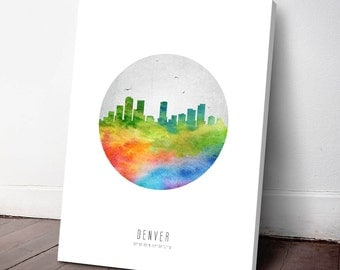Denver Skyline Canvas Print, Denver Art Print, Denver Decor, Home Decor, Gift Idea,USCODE20C