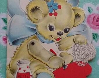 Vintage kitsch mechanical teddy bear Valentine's card ephemera 1940s