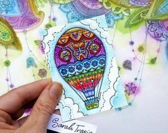 Mini Rainbow Hot Air Balloon Print - ACEO size