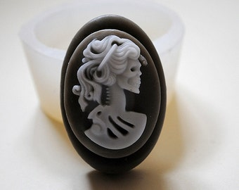 LADY DEATH SILICONE mold soap bar Halloween mould soap  plaster clay wax resin