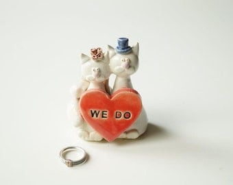 Cat Cake Topper, Cat Couple, Wedding Cake Topper, Married Couple, Wedding Gift, Ceramic Cake Topper by Her Moments