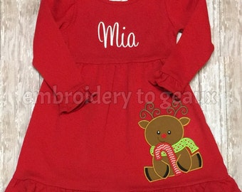 Personalized Girl's Christmas Reindeer Ruffle Dress, Girls Christmas Dress, Girls Holiday Dress, Toddler Girls Holiday Dress