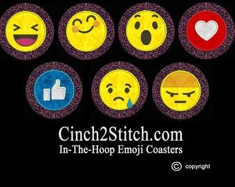 "Emoji Coasters (set #2)- recycled CDs - 100% In The Hoop - Machine Embroidery Design Download (5"" x 7"" Hoop)"