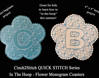 """Quick Stitch Flower Monogram Coasters - In The Hoop - Machine Embroidery Design Download (4"""" x 4"""" Hoop), Vinyl or Recycled Denim"""