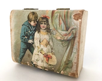 antique Victorian box, lithographed box