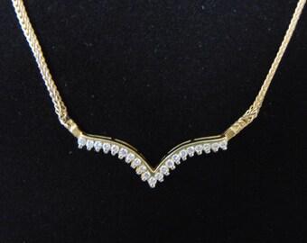Vintage Estate 14k Gold Necklace w/ Diamond Pendant 10.5g E2476