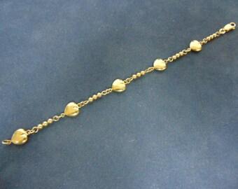 Womens Vintage Estate 14K Yellow Gold Heart Bracelet 5.2g E2399