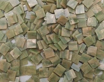 Resin mosaic tiles, 10x10mm, Marble effect, Iceber Green