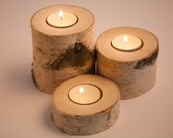 3 birch candle holders, tea light holder, woodland wedding centerpiece, rustic wedding decor, home decor, country wedding, christmas decor.