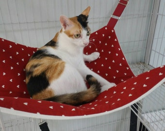 """Cat Hammock, Large Size 19.5"""" by 19.5"""" (49.5 cm. by 49.5 cm.), Straps Adjustable, Red with Tiny Hearts, Small Pets Hammock"""