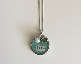 Love - Bezel Necklace with Charms