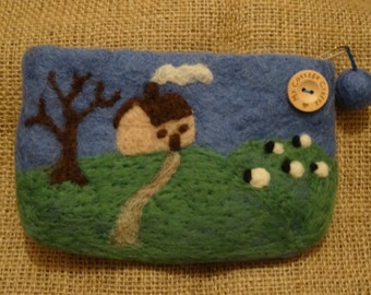 100% Wool ~ Purse ~ Needle Felted Design ~ 'Little House on the Hill' ~ Gifts
