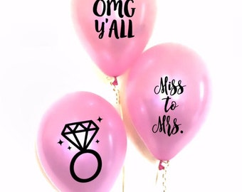 M4 Miss to Mrs Balloon Decals OMG Y'ALL Balloon Decals Bride to Be Balloon Decals Mrs. Balloon Decals Bachelorette Party Balloon Decals Set