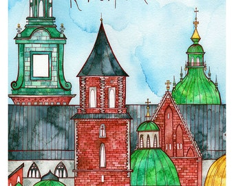 KRAKOW POLAND Print 11X14 Ink and Watercolor Painting
