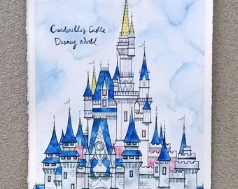 CINDERELLA'S CASTLE Original 11X15 Ink and Watercolor Painting