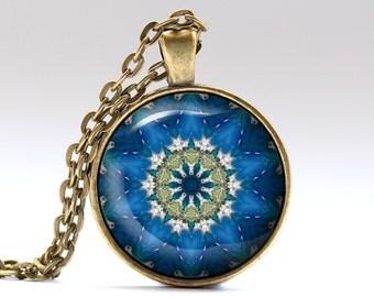 Mandala necklace Bohemian jewelry Geometry pendant OWA