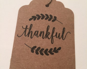 Set of 24 Thankful Thanksgiving Kraft Fall Wedding Favor Gift Tags Favor Tags