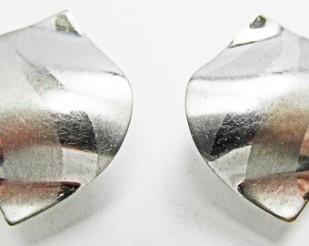 Vintage 1950s Signed Volupte Silver Toned Earrings
