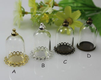 1PC 25x18MM Empty Glass Dome with Base /Empty Hollow Glass/Glass vials pendants/Glass dome pendant