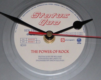 "Status Quo The power of rock 7"" silver  vinyl record clock"