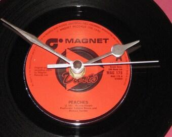 "Darts Peaches  7"" vinyl record clock"