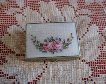 Vintage Brass and Enamel Pill Box with Guilloche Etching
