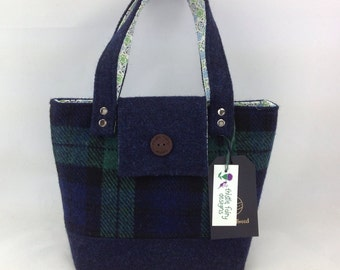 A stunning Handmade Harris Tweed hand bag in a limited edition Black Watch tartan Harris Tweed. Ladies Tweed Bag. Evening bag.
