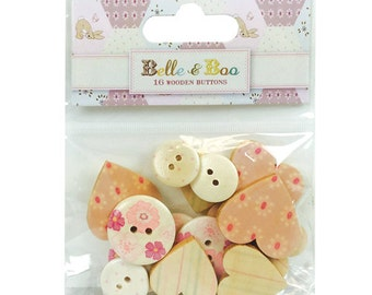 Belle & Boo II 16 Wooden Buttons, Wooden heart buttons, Floral wooden buttons, Striped heart wooden buttons, wooden embellishment