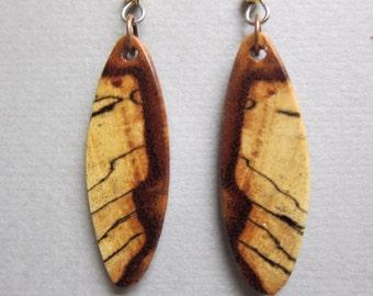 Spalted Tamarind Exotic Wood Small Earrings ear wires hypoallergenic wires handmade ExoticwoodJewelryAnd