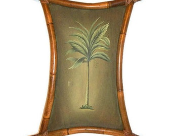 Vintage Bamboo Frame Banana Tree Painting