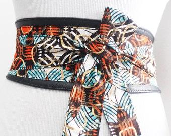Leather Black Wax Print Gold Obi Belt |Ankara Wax Print|Leather tie belt| Corset Belt| Unique Belt |Plus size belts